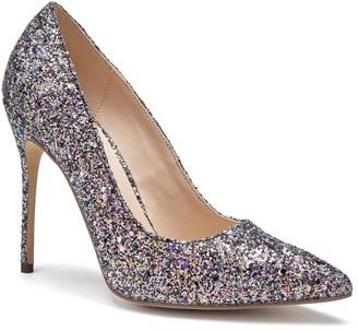 Linzi Paradox London Cosmic Black Multi Glitter High Heel Court Shoes