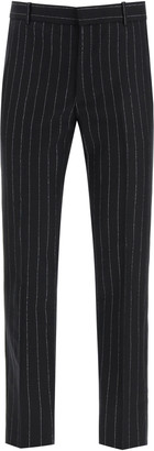 Alexander McQueen LUREX PINSTRIPE WOOL TROUSERS 48 Black, Silver Wool