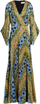 Peter Pilotto Floral-print Hammered-silk Gown