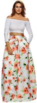OFEEFAN Women's Casual A-Line Maxi Flared Skirt African Print L