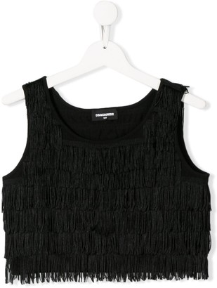 DSQUARED2 TEEN fringed crop top