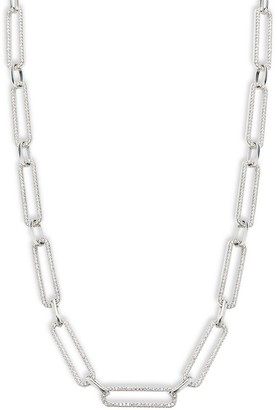 GABIRIELLE JEWELRY Sterling Silver Cubic Zirconia Link Chain Necklace