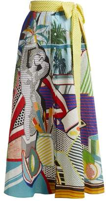 Mary Katrantzou Camille Pop Art Print Seersucker Midi Skirt - Womens - Multi