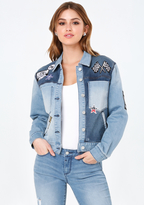 Bebe Patch Oversize Denim Jacket