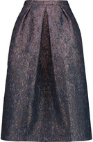 Iris and Ink Pleated metallic jacquard midi skirt