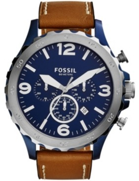 Fossil Men's Nate Brown Leather Watch 50mm