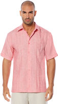 Cubavera 100% Linen Short Sleeve Cross Dye Tuck Embroidered Shirt