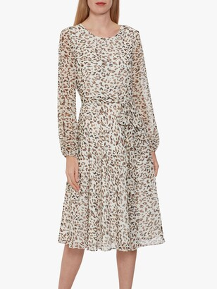 Gina Bacconi Jerilyn Animal Knee Length Dress, Ivory/Black