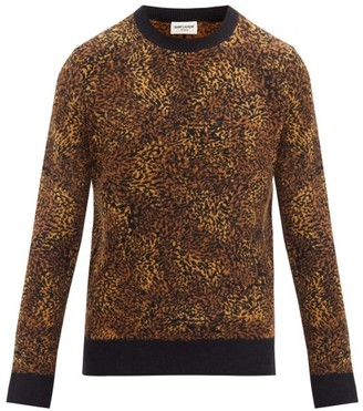 Saint Laurent Leopard-jacquard Sweater - Brown Multi