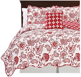 Serenta Paisley Flower Reversible Quilted 4 Piece Bedspread Sets, Red, King