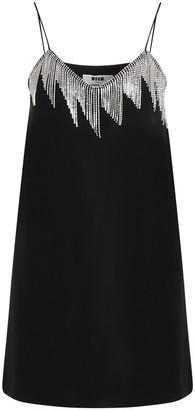 MSGM Embellished Fringe Trim Mini Dress