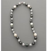 Varella Sterling Silver & Graduated Shell Pearl Necklace - White/Black/Silver