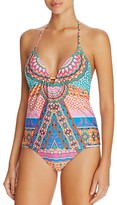 Laundry by Shelli Segal Medallion Halter Tankini Top