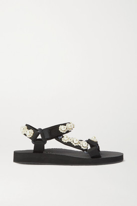 Arizona Love Trekky Chic Faux Pearl-embellished Canvas Platform Sandals - Cream