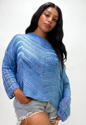 Missguided Plus Size Blue Crochet Knitted Jumper