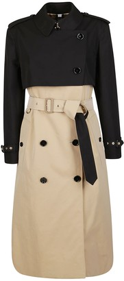 Burberry Buttoned Belted Long Trench