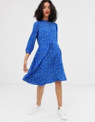 Asos Finery Lola floral print tie waist dress-Blue