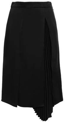 Proenza Schouler Asymmetric Pleated Satin-crepe Midi Skirt