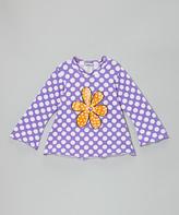 Flap Happy Grape Punch Polka Dot Flower Tee - Toddler & Girls