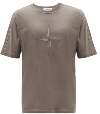 Stone Island Compass-embroidered Flecked Cotton T-shirt - Brown