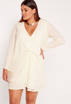 Missguided Plus Size Knot Oversized Dress Cream