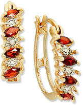 Townsend Victoria 18k Gold over Sterling Silver Earrings, Garnet (3/4 ct. t.w.) and Diamond Accent Hoop Earrings