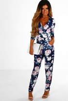 Pink Boutique Casual Crush Navy Floral Wrap Jumpsuit