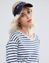 Jack Wills Visor In Navy With Pink Embroidery