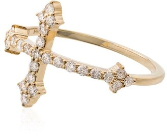 Dru 14kt gold Cross diamond ring