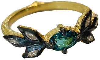 Cathy Waterman Paraiba Tourmaline Marquise 3 Leaf Ring - Yellow Gold