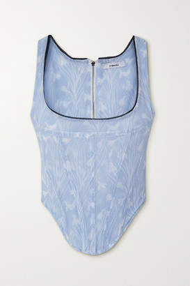 Miaou Campbell Lace-trimmed Floral-print Stretch-mesh Bustier Top