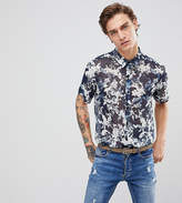 Reclaimed Vintage Inspired Shirt With Short Sleeves In Navy Floral Print Reg Fit