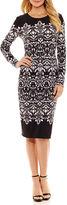 Liz Claiborne Long Sleeve Floral Sheath Dress