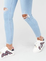 River Island Ripped Knee Mid Rise Amelie Super Skinny Jean