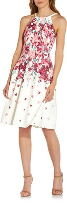 Adrianna Papell Floral Halter Neck Fit & Flare Crepe Dress