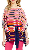 MICHAEL Michael Kors Abbey Multi Stripe Scarf Print Belted Kimono Tunic