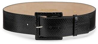 Carolina Herrera Square-Buckle Snakeskin & Leather Belt