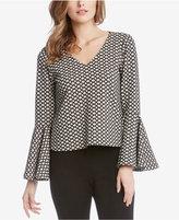 Karen Kane Jacquard Bell-Sleeve Top