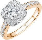 Tolkowsky 18ct Rose Gold 1ct Cushion Halo Diamond Ring