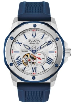 Bulova Men's Automatic Marine Star Blue Silicone Strap Watch 45mm