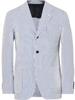 Camoshita Blue Slim-Fit Striped Cotton and Silk-Blend Seersucker Blazer