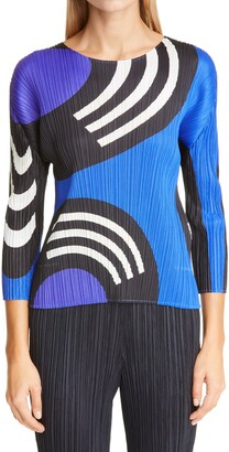 Pleats Please Issey Miyake Record Print Pleated Top