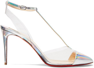 Christian Louboutin Nosy 85 Iridescent Leather And Pvc Pumps