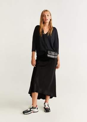 MANGO V-neckline knit t-shirt charcoal - XXS - Women