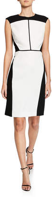 Elie Tahari Lottie Colorblock Sleeveless Crepe Dress