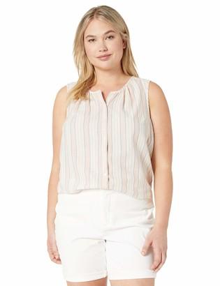 Lucky Brand Women's Plus Size Multi Colored Striped Sleeveless Shirt 2X