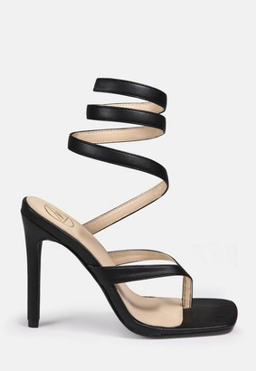 Missguided Black Toe Bar Wrap Up Heeled Sandals