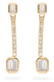 Shay Baguette Punch Diamond & 18kt Gold Drop Earrings - Yellow Gold