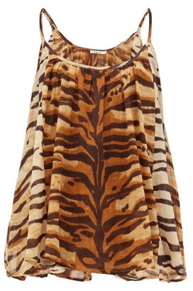 Mes Demoiselles Fauve Zebra-print Cotton Cami Top - Brown Print