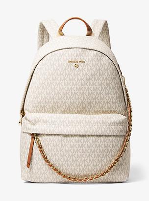 MICHAEL Michael Kors MK Slater Large Logo Backpack - Vanilla/acorn - Michael Kors